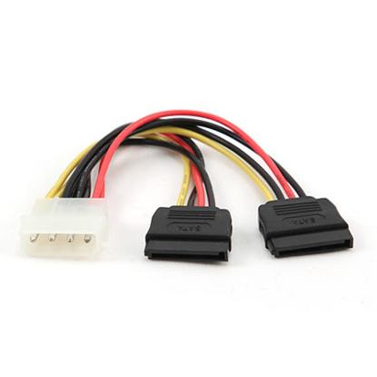 Slika od Kabl napojni interni Y, molex na 2xSerial ATA 15cm power cable, GEMBIRD CC-SATA-PSY