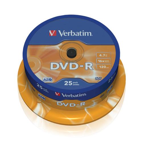 Picture of DVD-R, VERBATIM,4,7 GB,16X, spindle 25 kom,MATT SILVER