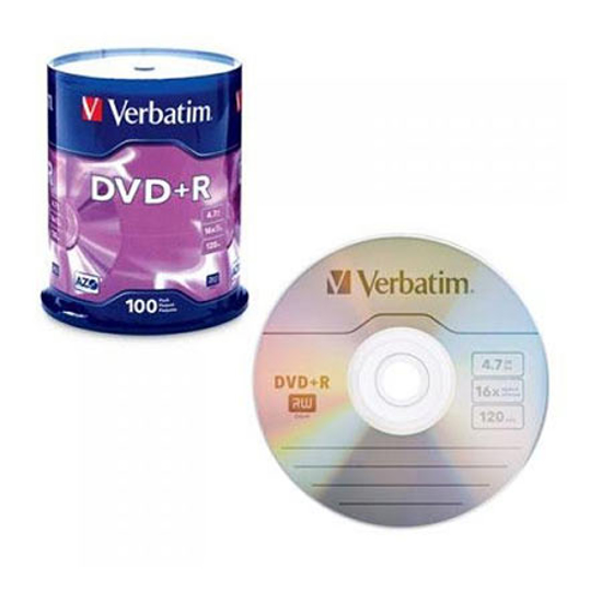 Picture of DVD-R, VERBATIM,4,7 GB,16X, spindle 100 kom,MATT SILVER