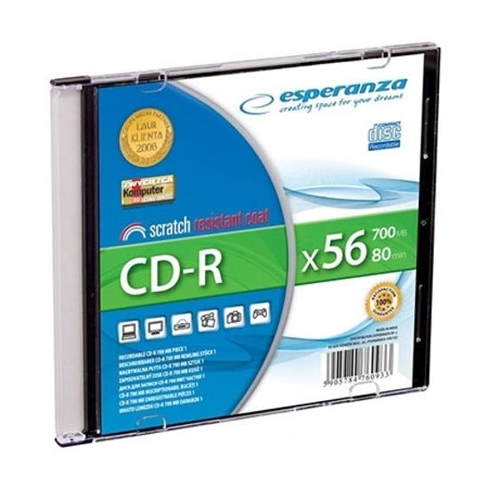 Picture of CD-R ESPERANZA SILVER, 700MB, 80min, 52X, SLIM CASE, 2009
