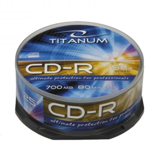 Picture of CD-R TITANUM 700MB, 80min, X52, CAKE BOX, 25 kom, 2025