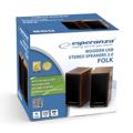 Picture of Zvučnici 2.0 ESPERANZA FOLK, 2x3W, 3.5mm, USB power, drvene kutije, EP122
