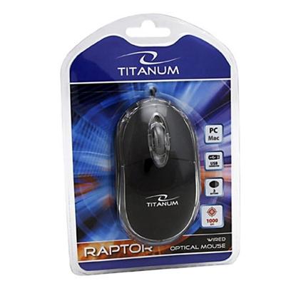Slika od Miš TITANUM 3D RAPTOR, USB, optical, black, 1000 dpi, TM102K