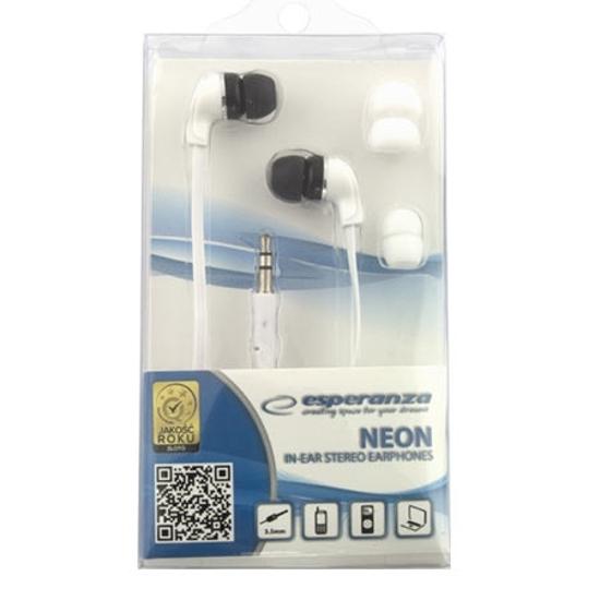 Picture of Slušalice ESPERANZA NEON In-Ear, Amplified BASS , white, 2x spare rubber pads EH147W