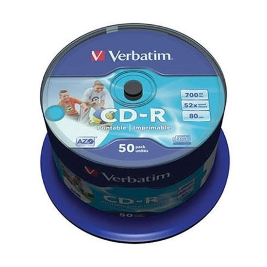 Picture of CD-R,VERBATIM, 700 MB,52X,spindle 50 kom WRAP,printable