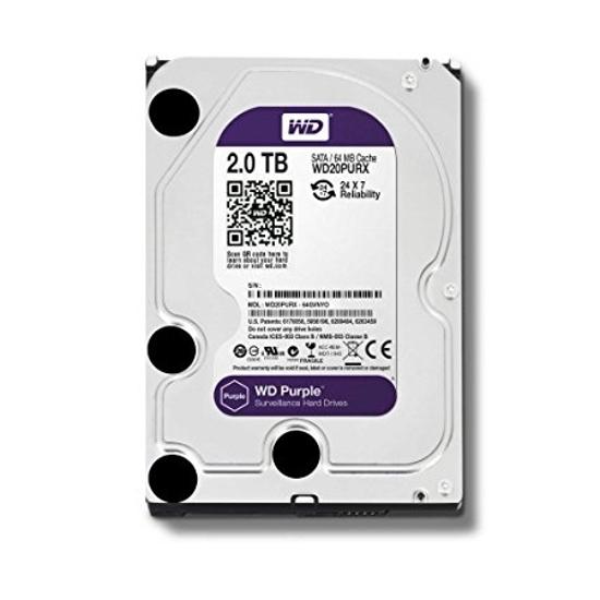 Picture of HDD 2 TB, WD20PURZ SATA-6Gb, IntelliPower rpm, 64 MB PURPLE