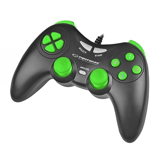 Picture of Game Pad ESPERANZA FIGHTER, vibration, PC, USB, black/green, EGG105KG