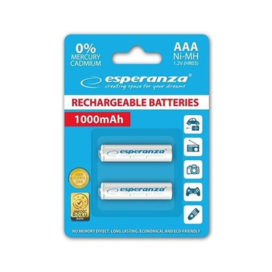 Picture of Punjive baterije ESPERANZA RECHARGEABLE Ni-MH AAA 1000MAH 2kom. white, EZA101W