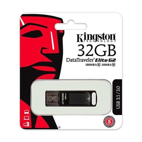 Picture of USB Memory stick  KINGSTON 32GB DTEG2/32GB FD  ELITE G2 DATATRAVELER,USB3.1/USB3.0 180MB;50MB;METAL,SHOCK&WATER RESITANT