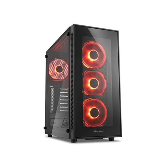 Picture of Kućište SHARKOON gaming, TG5 Full Glass Red ATX, 4x 120mm LED