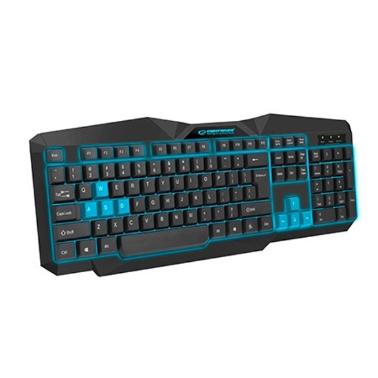 Picture of Tastatura gaming ESPERANZA TIRIONS, USB, illuminated, blue, US layout, EGK201B