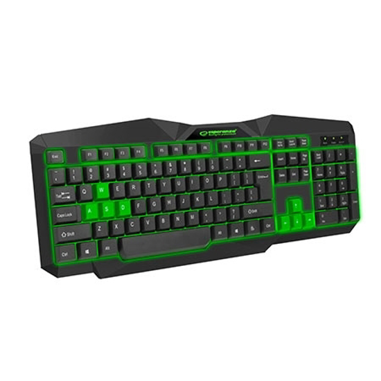 Picture of Tastatura gaming ESPERANZA TIRIONS, USB, illuminated, green, US layout, EGK201G