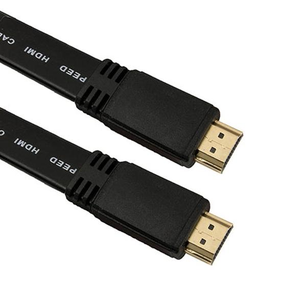 Picture of HDMI flat kabl ESPERANZA, v.1.4b, 3D, 4K, male-male 3m, black, EB200