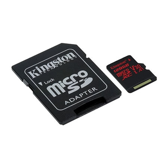 Picture of  MICRO SD KINGSTON 64GB SDCR/64GB  CLASS 10 UHS-I U3 100MB/S READ,80MB/S WRITE;SD ADAPTER
