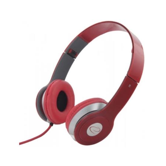 Picture of Slušalice sklopive ESPERANZA, TECHNO, red, volume control, EH145R