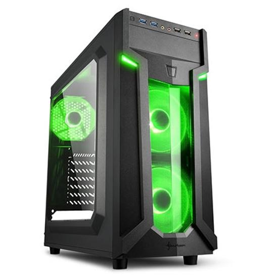 Picture of Kućište SHARKOON gaming, VG6-W green, ATX, ventilator 3x120 mm LED, 2xUSB3, Window