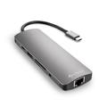 Picture of USB 3.0 Type-C Combo Adapter SHARKOON 3xUSB3.0, RJ45, Stereo Jack, MicroSD/SD/MMC, HDMI, USBT Type-C, dark grey