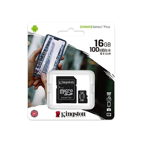Picture of Micro SD card Kingston 16 GB SDHC  SDCS2/16GB  Class10 Canvas Select Plus SD adapter;100MBs Read,Class 10 UHS-I