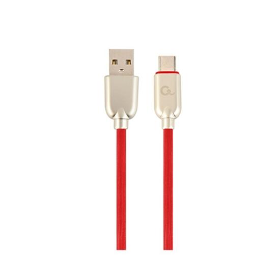 Picture of USB 2.0 kabl Premium rubber Type-C USB charging and data cable, 2 m, black, GEMBIRD CC-USB2R-AMCM-2M