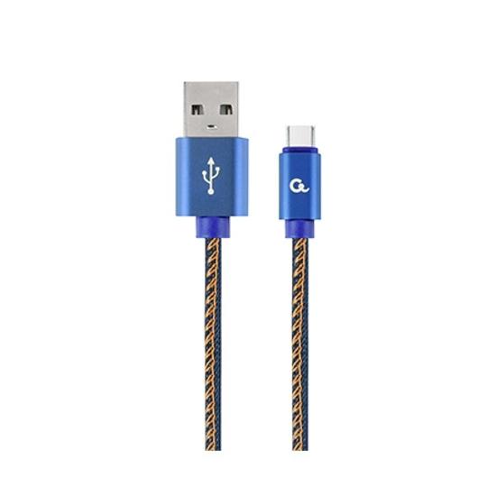 Picture of USB 2.0 kabl Premium jeans (denim) Type-C USB cable with metal connectors, 1 m, blue, GEMBIRD CC-USB2J-AMCM-1M-BL