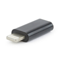 Picture of USB adapter Type-C (female) to iPhone (male), BLACK, GEMBIRD A-USB-CF8PM-01