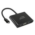 Picture of USB adapter kabl Type-C 3u1, SPEEDLINK 3in1 USB-C to VGA, USB, USB-C Adapter, HQ, SL-180027-BK