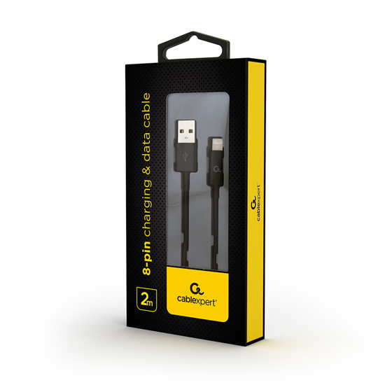 Picture of USB 2.0 kabl iPhone 8-pin charging and data cable, 2 m, black CC-USB2P-AMLM-2M