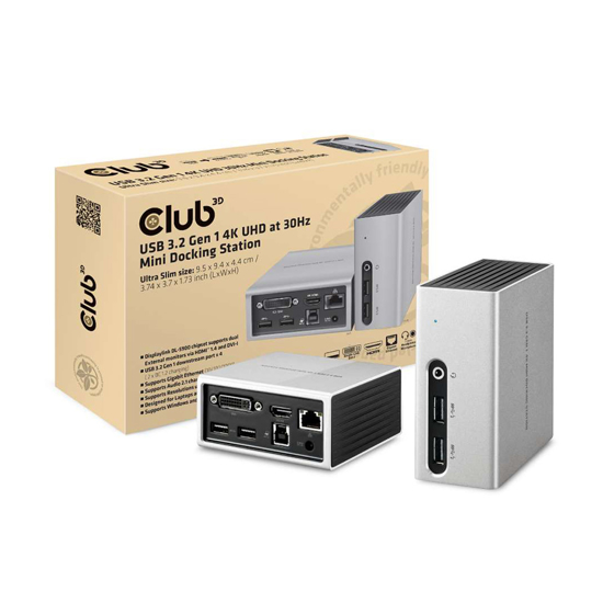 Picture of Docking station Club 3D USB TYPE A 3.1 GEN 1 4K UHD MINI DOCKING STATION CSV-3104D