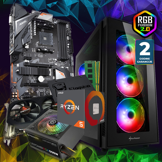 Picture of GNC GAMER Ryzen 5 GAMING 1600  6x3.20Ghz, B450 AORUS ELITE, Kingston DDR4 16 GB, RX560 4GB, Thermaltake RGB 550W, TG5 PRO RGB Addressable Full Glass