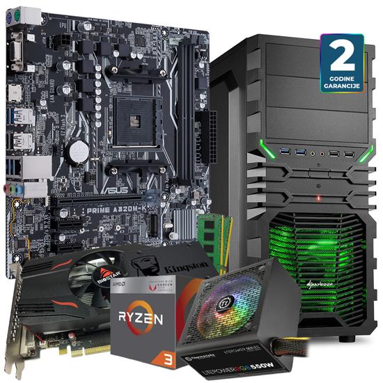 Picture of GNC GAMER RYZEN 3 3.5GHZ, ASUS MB PRIME A320M-K, RX 550 4GB, SSD Kingston 240GB, VG4-W green ATX,Thermaltake, Litepower RGB 550W 24mj, NO OS