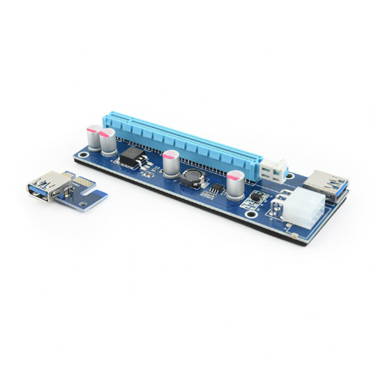 Picture of PCI Riser Mining Extender USB3.0 PCI-ex 6-pin power connector, SATA,  GEMBIRD, RC-PCIEX-03