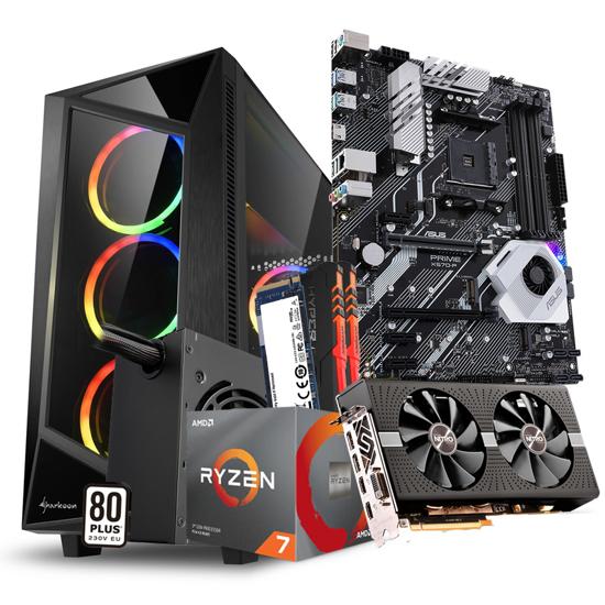Picture of GNC GAMER Ryzen 7 3800X 3.9GHz 32MB, MB ASUS PRIME X570-P, NITRO+ RADEON RX 580 4G,Kingston DDR4 2X16GB 3000MHz RGB, M.2 250GB+1TB HDD,650W, REV  RGB
