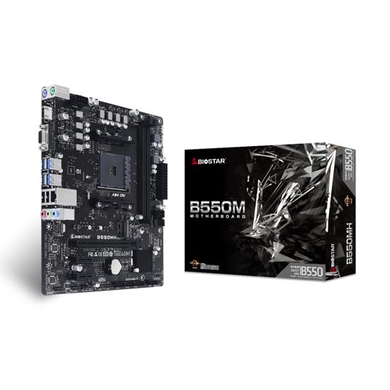Picture of MB BIOSTAR AMD B550, B550MH, Socket AM4, uATX, GbE LAN, HDMI, VGA