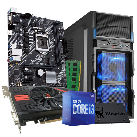 Picture of GNC GAMER i3-10100F 3.60GHz, MB PRIME H410M-E, Kingston 240GB A400, RX560 4GB GDDR5 128 bit, GB GDDR5 128 bit DVI/DP/HDMI, LC Power 600, VG5-V, ATX