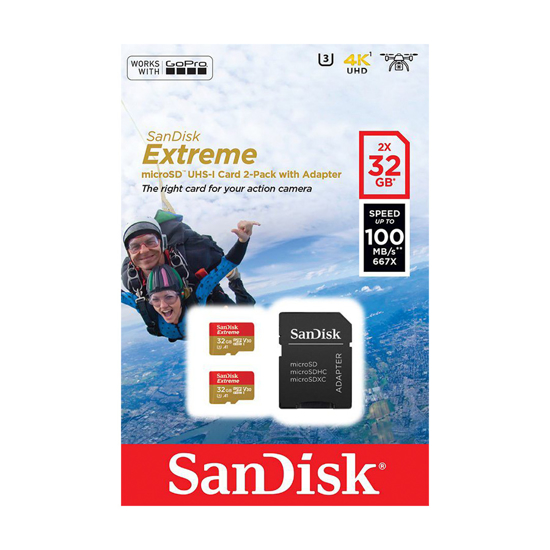 Picture of Micro SD SanDisk Extreme 32GB UHS-1 dual pack 2komada + adapter Čitanje 100MB/s, SDSQXAF-032G-GN6AT