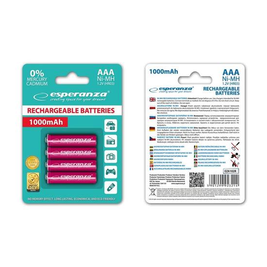 Picture of Punjive baterije ESPERANZA RECHARGEABLE Ni-MH AAA 1000MAH 4kom. red, EZA102R