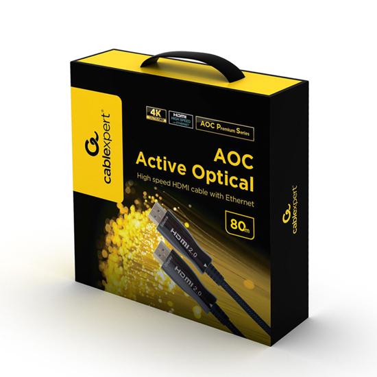 Picture of HDMI kabl GEMBIRD, 80m, Active Optical (AOC) High speed +Ethernet AOC Premium Series CCBP-HDMI-AOC-80M