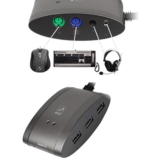 Picture of USB HUB za 3 uređaja, PS/2miš, tast., audio,7in1 CR, A4-MS-9
