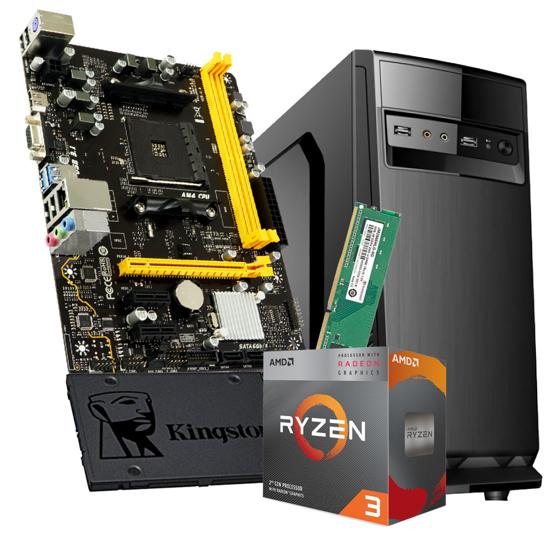 "Picture of GNC OFFICE RYZEN 3 3200G 3.6GHz, MB A320, RAM DDR4 8GB 2666MHz, SSD 120 GB 2,5"" , Kućište 500w IG-MAX 1607 black, NO OS, 24Y"