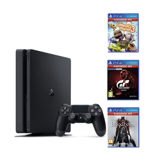 Picture of PlayStation 4 500GB F Chassis Black Bloodborne PS4 HITS  + Gran Turismo Sport HITS PS4 + Little Big Planet 3 PS4 HITS