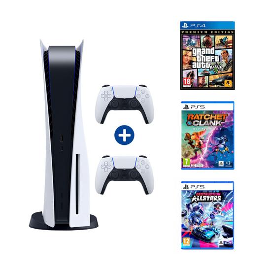 Picture of PlayStation 5 (2 X PS5 Dualsense Wireless Controller) + GTA V + Ratchet Rift Apart PS5 + Destruction
