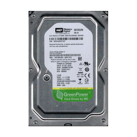 Picture of HDD 1 TB, WD10EURX-P, WD HDD 1TB SATA3 64MB Pull 1 God